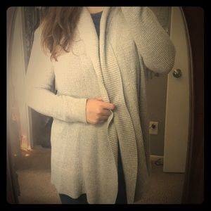 Light gray, open front sweater